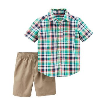 Carter's Toddler Boys 2-Piece Plaid Top & Khaki Woven Shorts