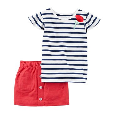 Carter's Little Girls' Cap Sleeve Two Piece Knit Twill Stripe Skirt Set