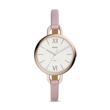 Fossil Women's Annette Blush Leather Strap Watch, 36mm