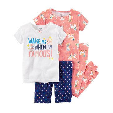 Carter's Girls' 4-Piece Cotton Dog Print Pajama Set