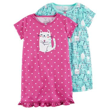 Carter's Girls' 2-Pack Cat Gown Set