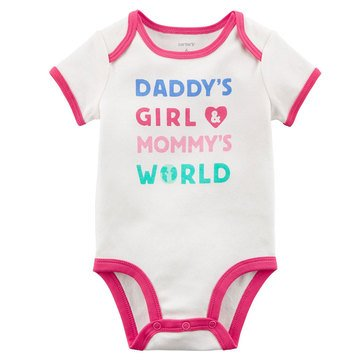 Carter's Baby Girls' Slogan Bodysuit, Daddy's Girls, Mommy's World