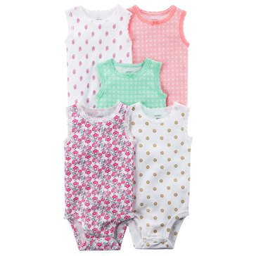 Carter's Baby Girls' 5-Pack Tank Bodysuit Set