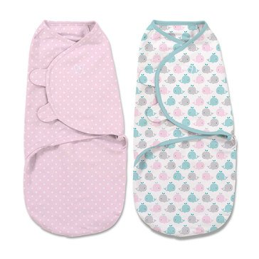 Summer Infant Swaddleme 2-Pack Pink Polka Dot Whale, Small