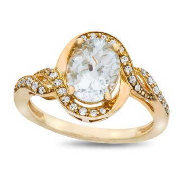 Gold Plated Aquamarine and Created White Sapphire Ring