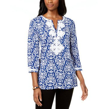 Charter Club Women's Woven Scroll Printed Tunic Top