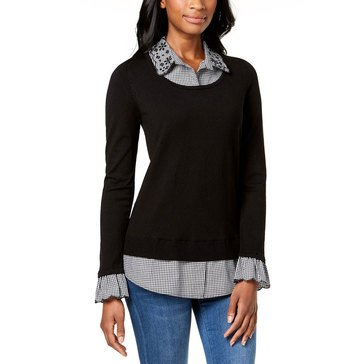 Charter Club Women's 3/4 Sleeve 2-Fer Sweater With Gingham In Deep Black