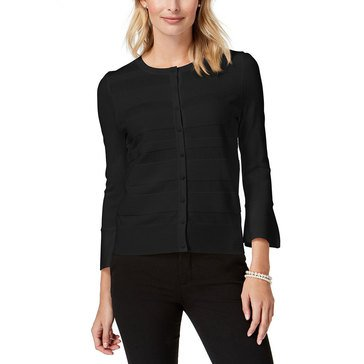 Charter Club Women's Ottoman Cardigan With Ruffle Sleeve In Deep Black