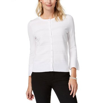 Charter Club Women's Ottoman Cardigan With Ruffle Sleeve In Bright White