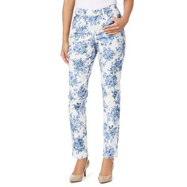 Charter Club Women's Floral Sprays on White Bristol Ankle Pants in Light Blue Air