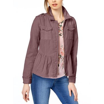 Maison Jules 2 Pocketed Pepelum Hidden Button Front Closure Jacket