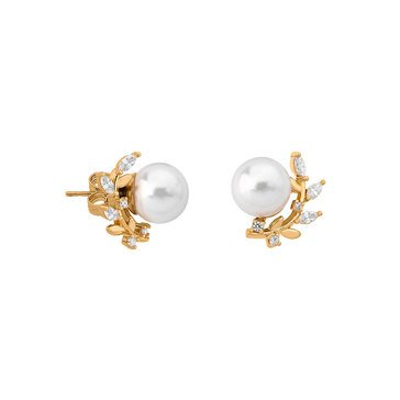 Majorica 10mm Simulated White Round Pearl and Cubic Zirconia Convertible Earrings, Sterling Silver