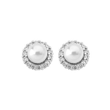 Majorica 8mm Simulated White Round Pearl and Cubic Zirconia Convertible Earrings, Sterling Silver