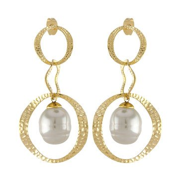 Majorica 12mm Simulated White Baroque Pearl Drop Earrings