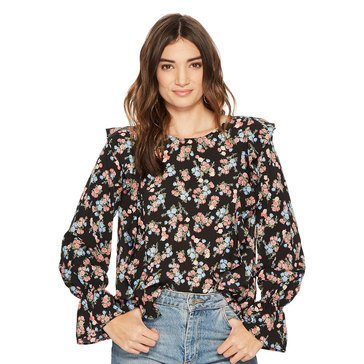Kensie Women's Wild Roses Top In Black Combo