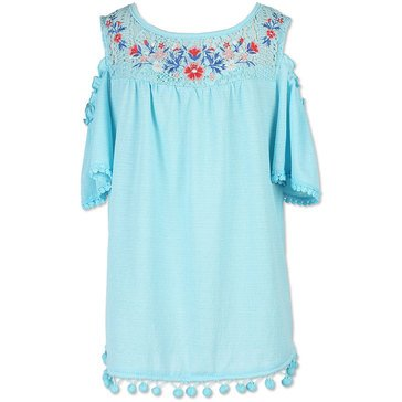 Speechless Big Girls' Cold Shoulder Embroidered Top