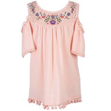 Speechless Big Girls' Embroidered Cold Shoulder Top