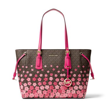 Michael Kors Voyager Medium Multifunction Top Zip Tote Flowered Garden Signature Brown/Ultra Pink