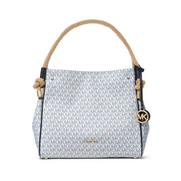 Michael Kors Isla Large Grab MK Signature Coated TwillWhite/Navy