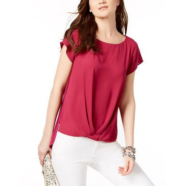 I.N.C. International Concepts Women's Knit Solid Top with Twist Front in Magenta Sky