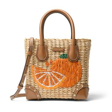 Michael Kors Malibu Medium Messenger Woven Natural/Tangerine