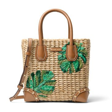 Michael Kors Malibu Medium Messenger Woven Natural Straw Natural/Palm