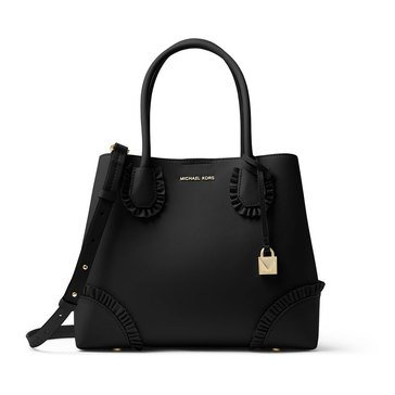 Michael Kors Mercer Gallery Medium Center Zip Tote Polished Leather Black