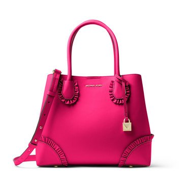 Michael Kors Mercer Gallery Medium Center Zip Tote Polished Leather Ultra Pink