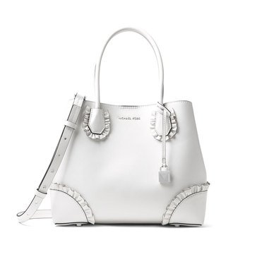 Michael Kors Mercer Gallery Medium Center Zip Tote Polished Leather Optic White
