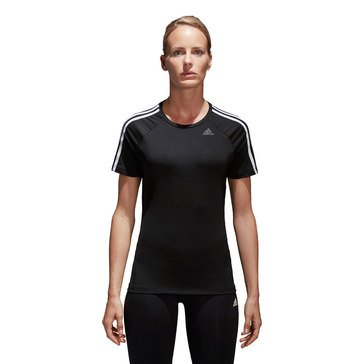 Adidas Women's D2M 3 Striped Short Sleeve Tee in Black