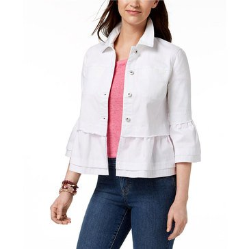 Style & Co Women's  Tiered Denim Jacket With Lace Hem In Bright White