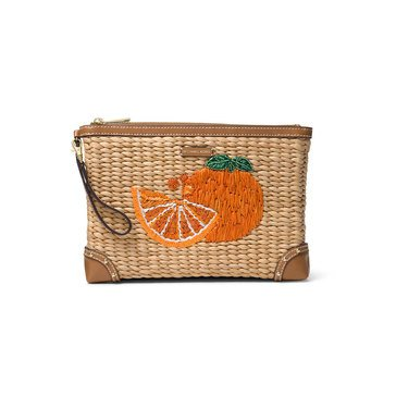 Michael Kors Malibu Large Zip Clutch Woven Straw Natural Tangerine