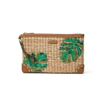 Michael Kors Malibu Large Zip Clutch Woven Straw Natural Palm
