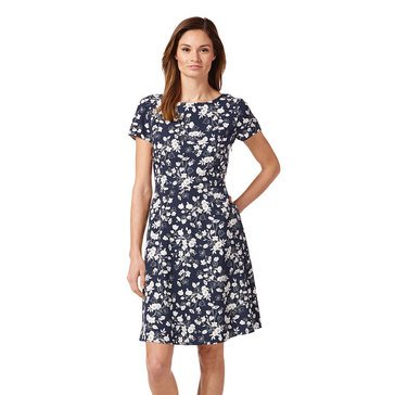 Brooks Brothers Women's Floral Printed Filed Short Sleeved Dress