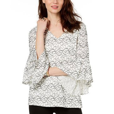 Alfani Women's Black Corded Lace V-Neck Top