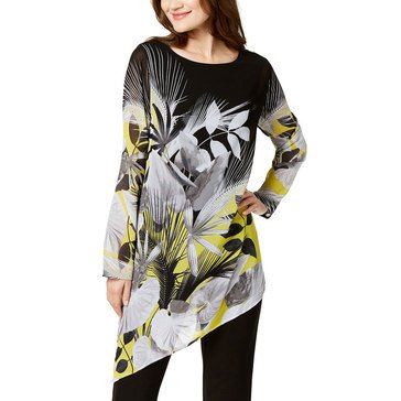 Alfani Women's Big Leaf Print Asymmetrical Hem Tunic Top