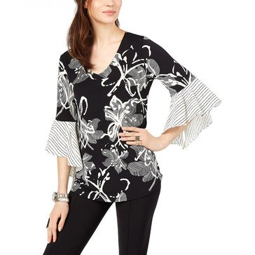 Alfani  Women's Big Floral Printed Shirt With Striped Ruffle Sleeve