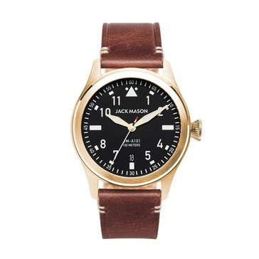 Jack Mason Men's Aviation Brown Leather Strap Watch, 42mm