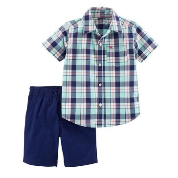 Carter's Toddler Boys' 2-Piece Set Mini Navy Plaid Navy Short
