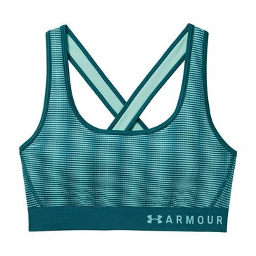 Under Armour Women's Armour Mid Crossback Striped Sports Bra