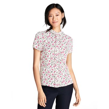 Brooks Brothers Women's Short Sleeve Tiny Floral Blouse Top