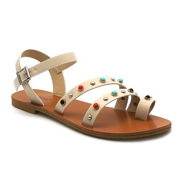 Pierre Dumas Azaria Sandal with Toe Ring Natural