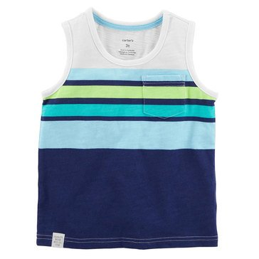 Carter's Little Boys' Turquoise Green Navy Engineered Stripe Tank