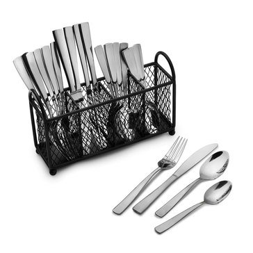 Mikasa Satin Danford With Caddy 24-Piece Flatware Set