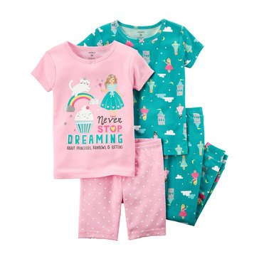 Carter's Baby Girls' 4-Piece Cotton Pajamas Set, Princess