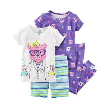 Carter's Baby Girls' 4-Piece Cotton Pajamas Set, Science