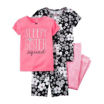 Carter's Baby Girls' 4-Piece Cotton Pajamas Set, Pink Floral