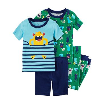 Carter's Baby Boys' 4-Piece Cotton Pajamas Set, Monster