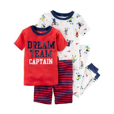 Carter's Baby Boys' 4-Piece Cotton Pajamas Set, Animal Sport