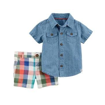 Carter's Baby Boys' 2-Piece Chambray Short Set, Collection 3